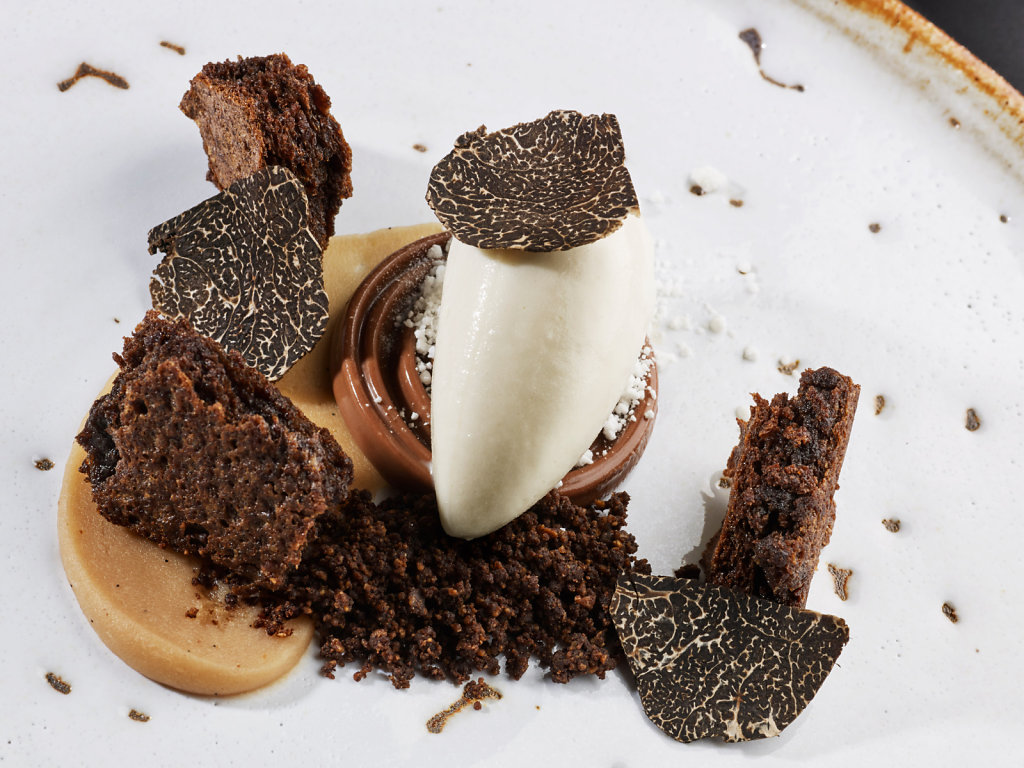 The perfect ending. Marron glacé cream, smoked ice cream, coffee, cocoa and truffle.